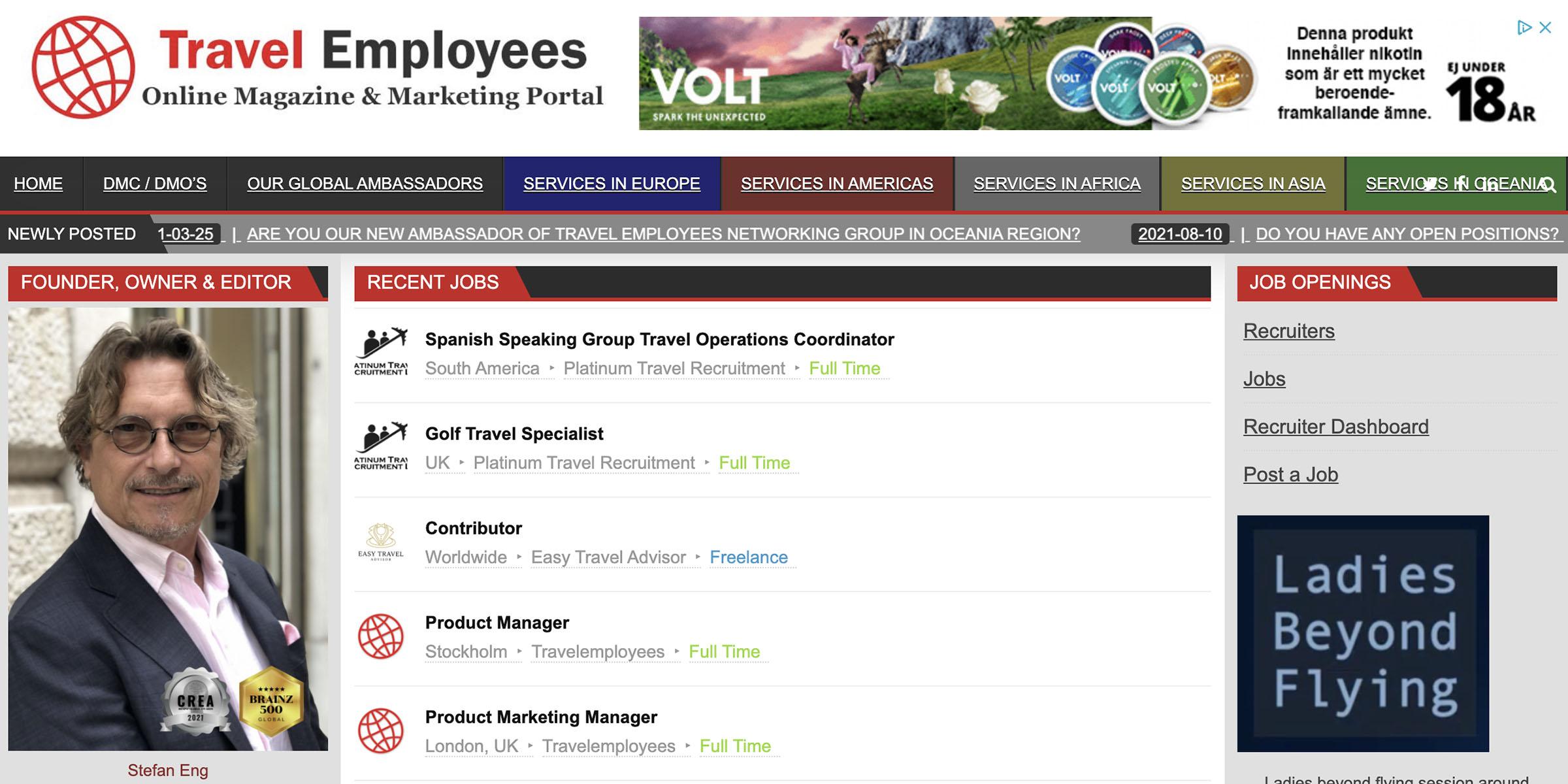 Travel Employees Job List